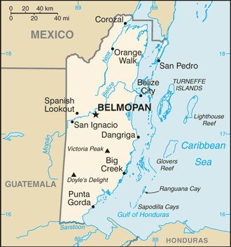 Belize in detail(image by the CIA, public domain via Wikimedia Commons)