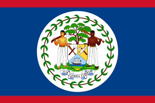 Flag of Belize(image by Caleb Moore, public domain via Wikimedia Commons)