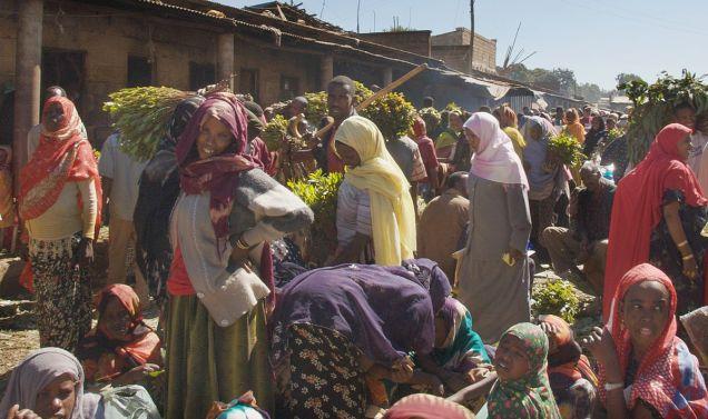 A khat market in Harar, Ethiopia