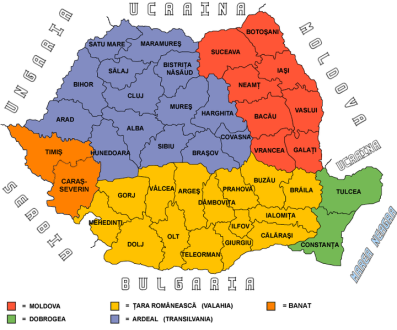 Regions and Counties of Romania