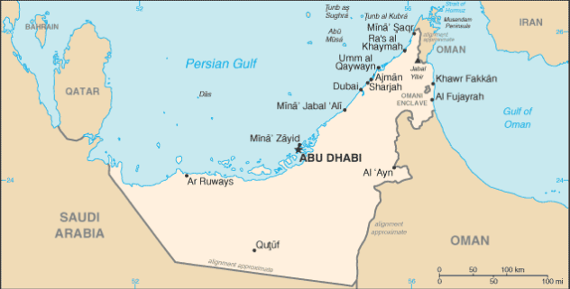 Map of United Arab Emirates