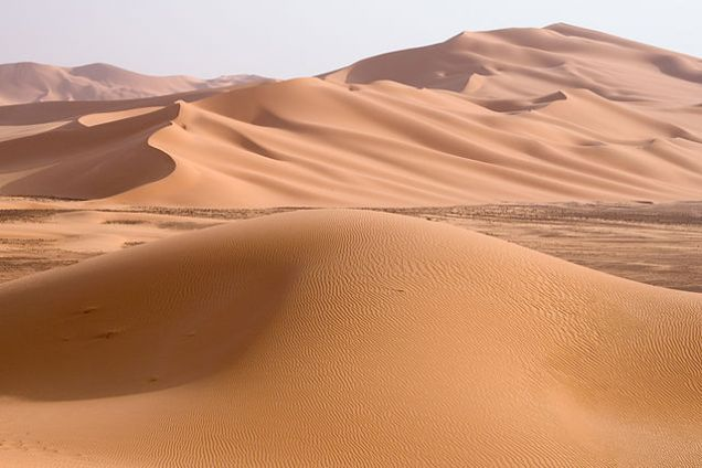Sand dunes of Wan Caza in the Sahara desert region of Fezzan in Libya