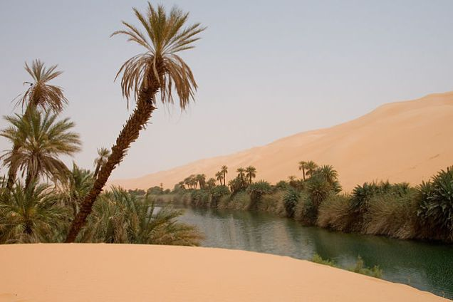 Ubari oasis - with lakes in Erg Awbari (Idehan Ubari) in the Sahara desert region of the Wadi Al Hayaa District, of the Fezzan region in southwestern Libya.