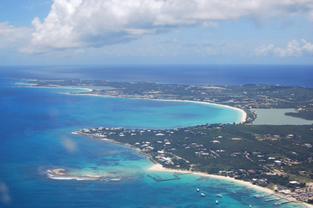 An aerial view of the western portion of the island of Anguilla