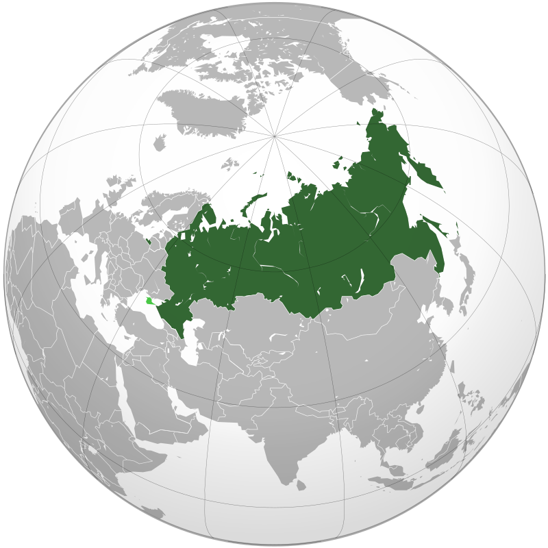 Location of internationally recognized territory of Russia (green) and the disputed Crimean Peninsula (light green)
